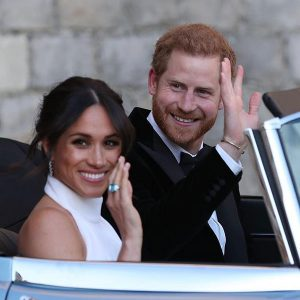 Duke and Duchess of Sussex in Jaguar