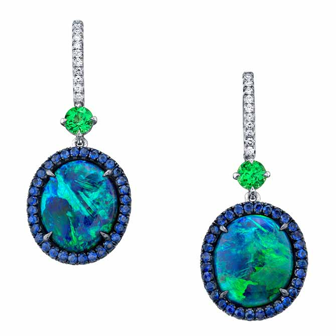 Omi Prive opal and sapphire earrings