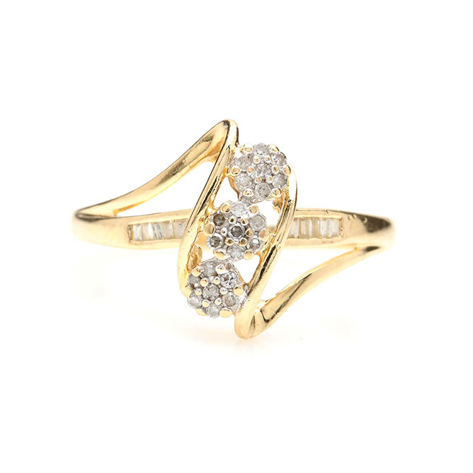 Gold and mixed cut diamond ring