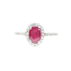 Platinum ruby ring with diamonds