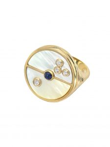 Mother of Pearl Compass signet ring