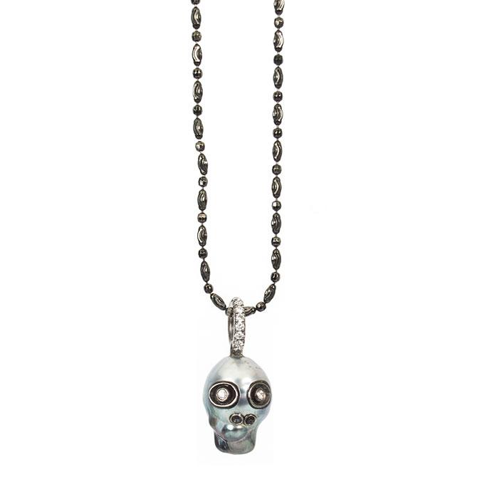 Samira 13 Tahitian pearl skull pendant