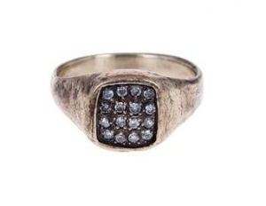 Gray diamond signet ring