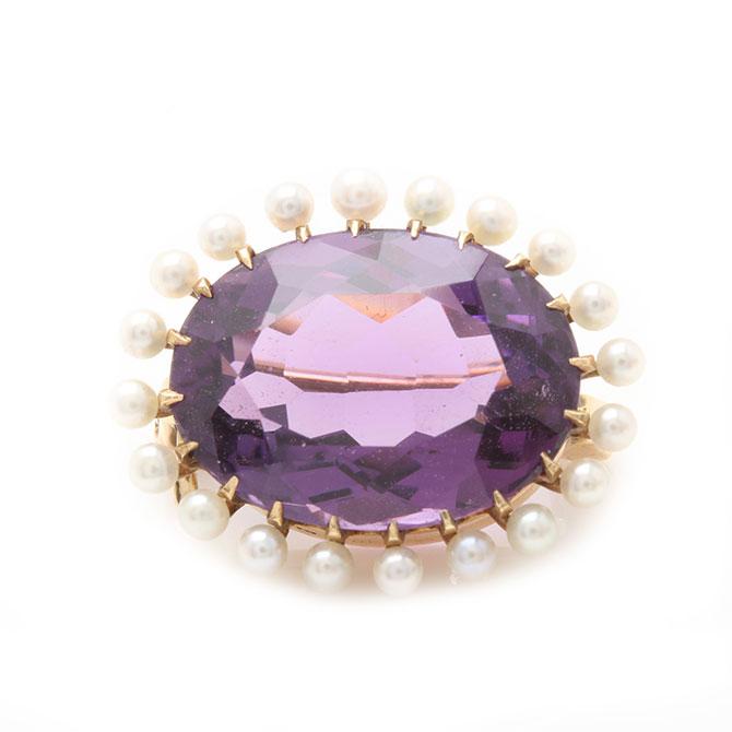 Vintage amethyst and pearl brooch
