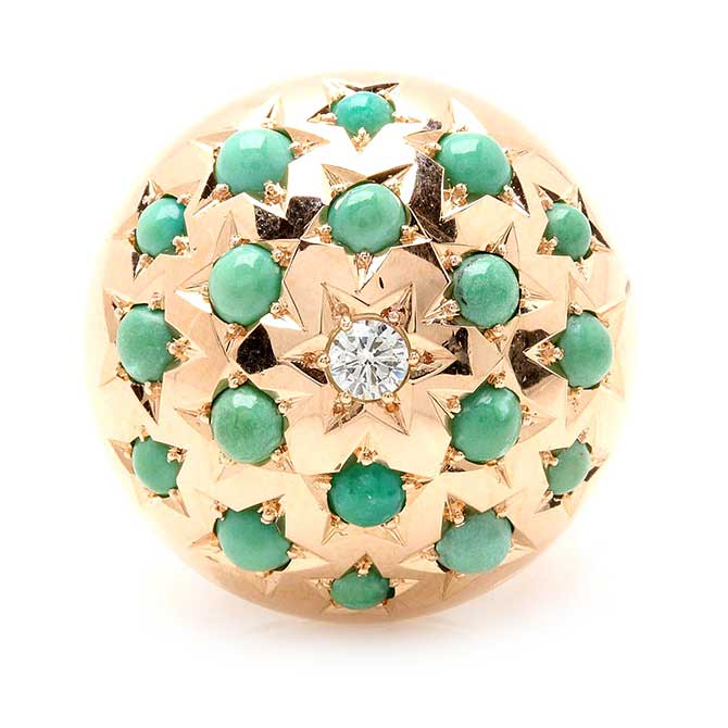 Vintage turquoise and diamond dome ring