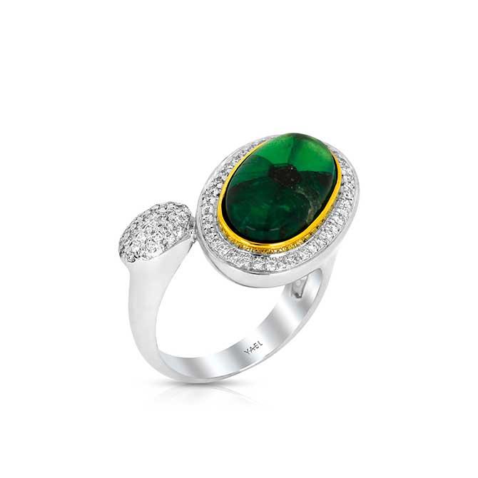 Yael Designs emerald and diamond ring