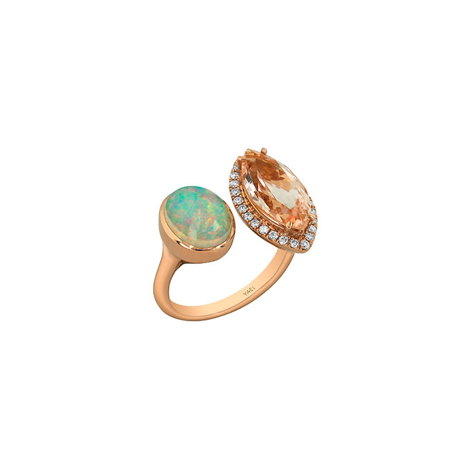 Yael Designs opal and marquise morganite ring