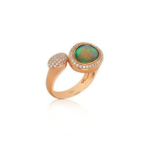 Yael Designs oval diamond and rose gold ring