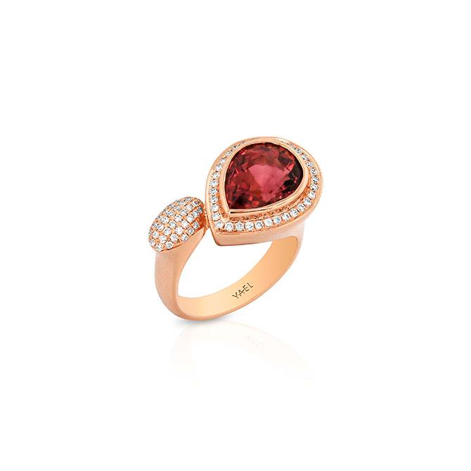 Yael Designs pink tourmaline and diamond ring