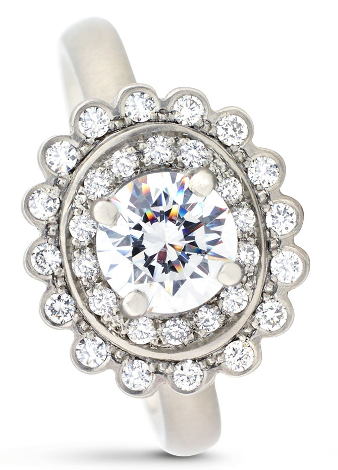 anne sportun halo mount with pave diamonds