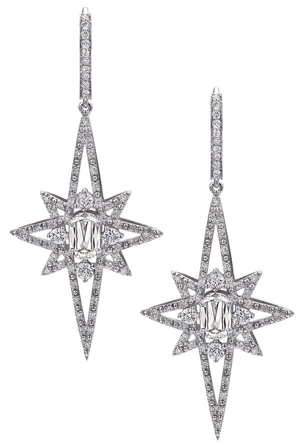 crisscut icicle star drop earrings