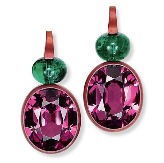 hemmerle rhodolite emerald earrings