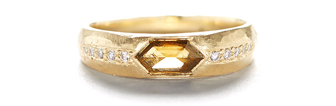 jennifer dawes hewn taper cognac diamond ring