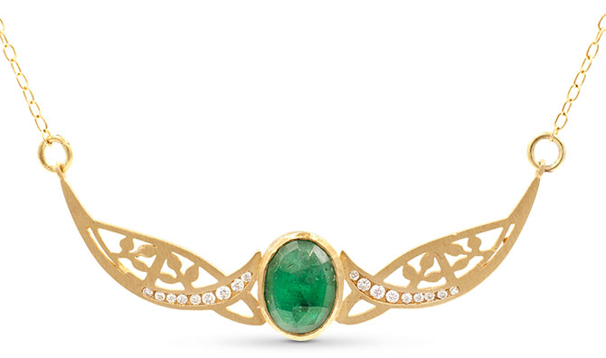 jennifer dawes relic golden gate emerald necklace