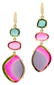 lauren k pink green tourmaline earrings