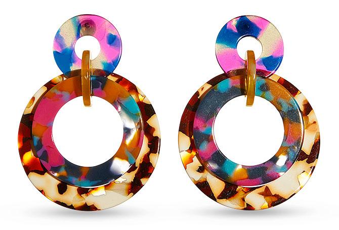 lele sadoughi jungle punch hoop earrings