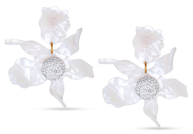 lele sadoughi mother of pearl crystal lily earrings