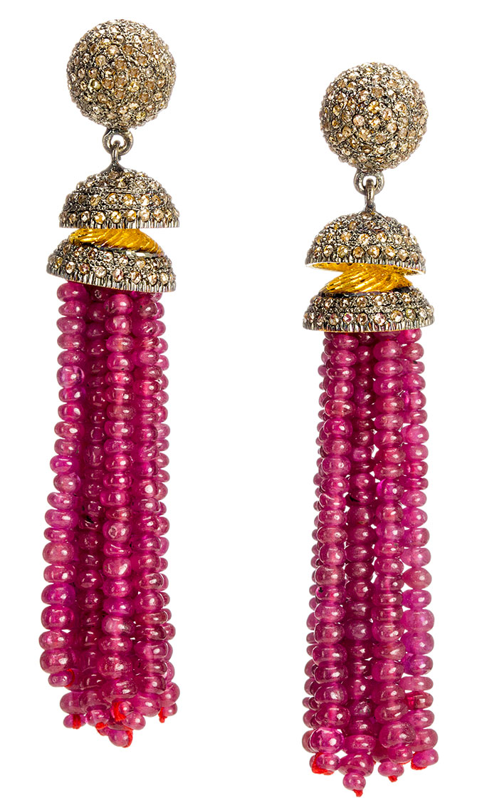 modern moghul ruby tassel earrings