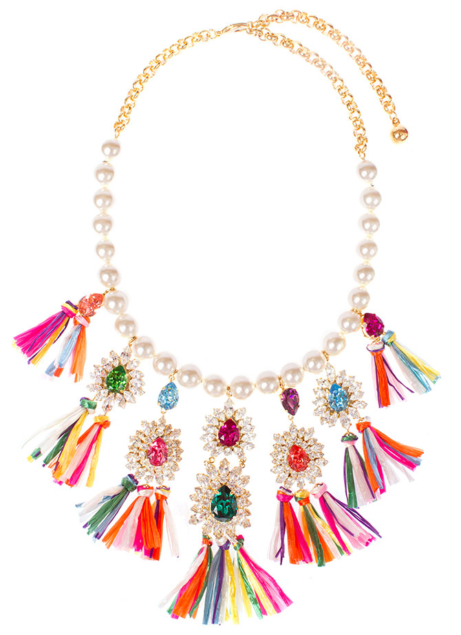 shourouk raffia crystal necklace