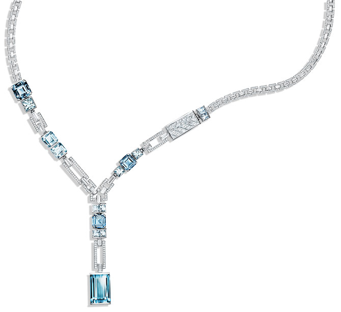 tiffany diamond and aquamarine necklace