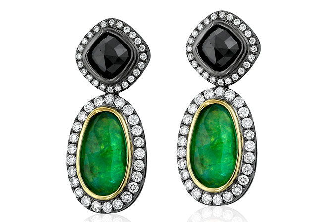 yael emerald black diamond earrings