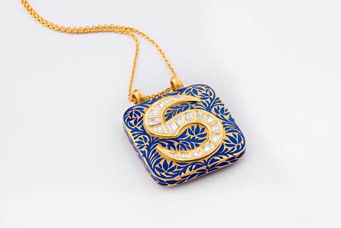 Agaro Lapis Maze Roya Initial Necklace