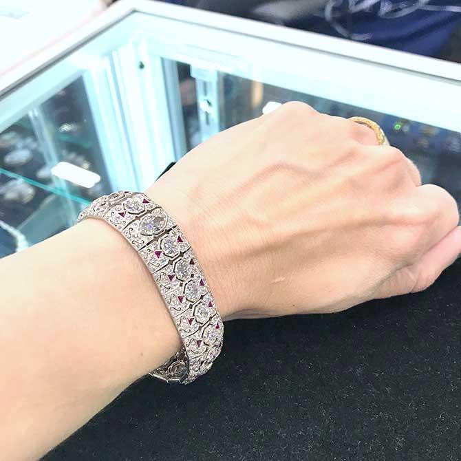 Beneficial Estate Buyers Art Deco ruby and diamond bracelet