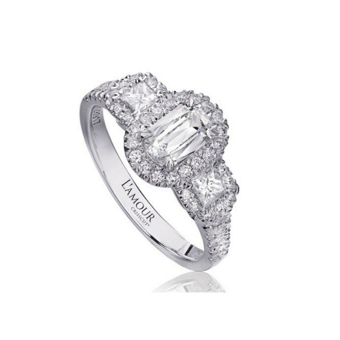 Christopher Designs LAmour Crisscut three stone engagement ring