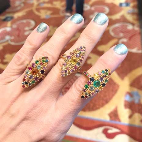 Colette Rainbow navette rings