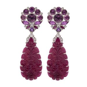 Featherstone carved rough ruby earrings