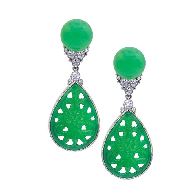 Featherstone carved chrysoprase earrings