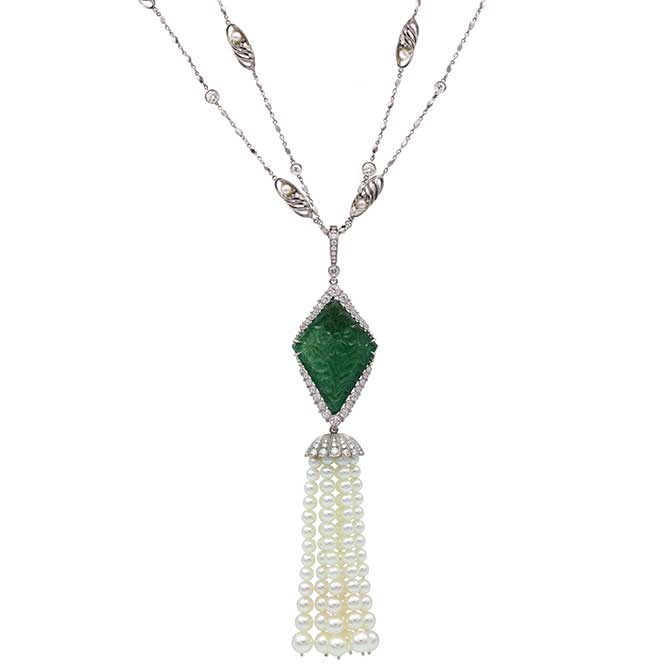 Featherstone carved emerald and diamond necklac