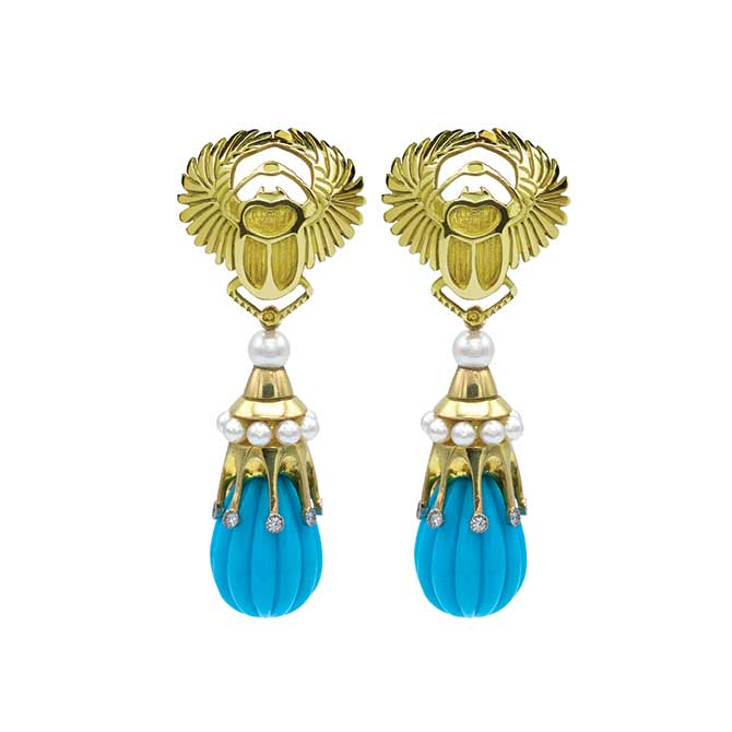Featherstone carved gold and turquoise earrings