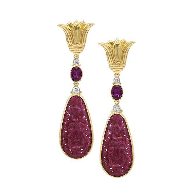 Featherstone carved ruby lotus earrings