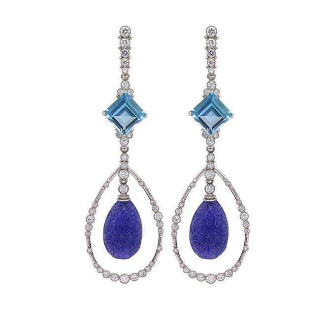 Featherstone carved tanzanite earrings with aquamarine