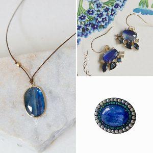 Kyanite pendant ring and earrings