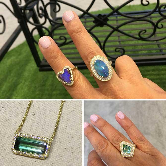Lauren K pendant and rings