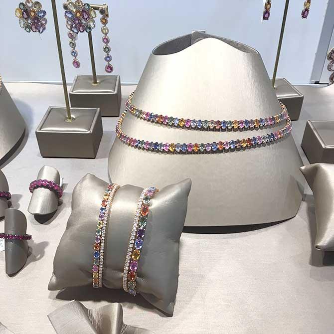 Lenti Vellasco rainbow sapphire bracelets