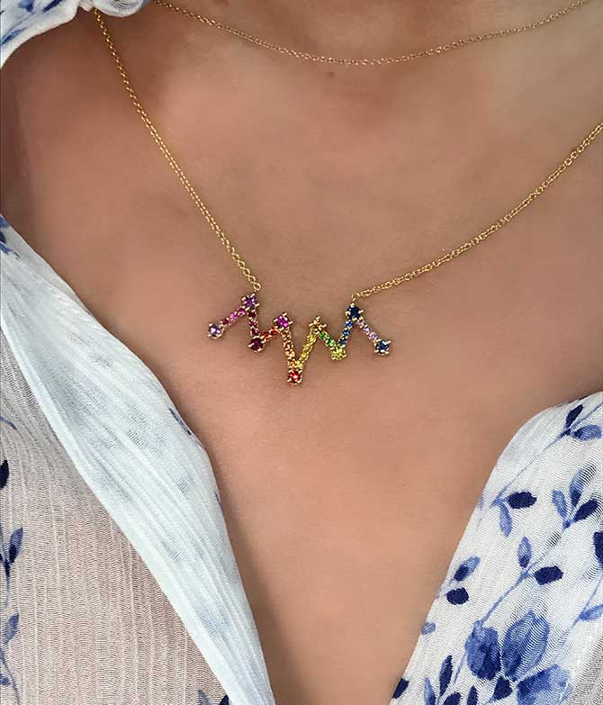 M Spalten rainbow sapphire necklace