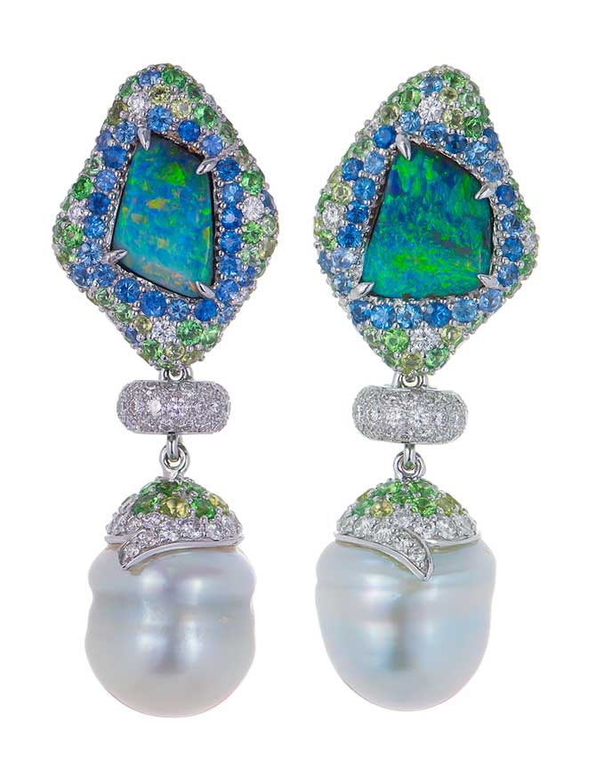 Margot McKinney opal and pearl earrings