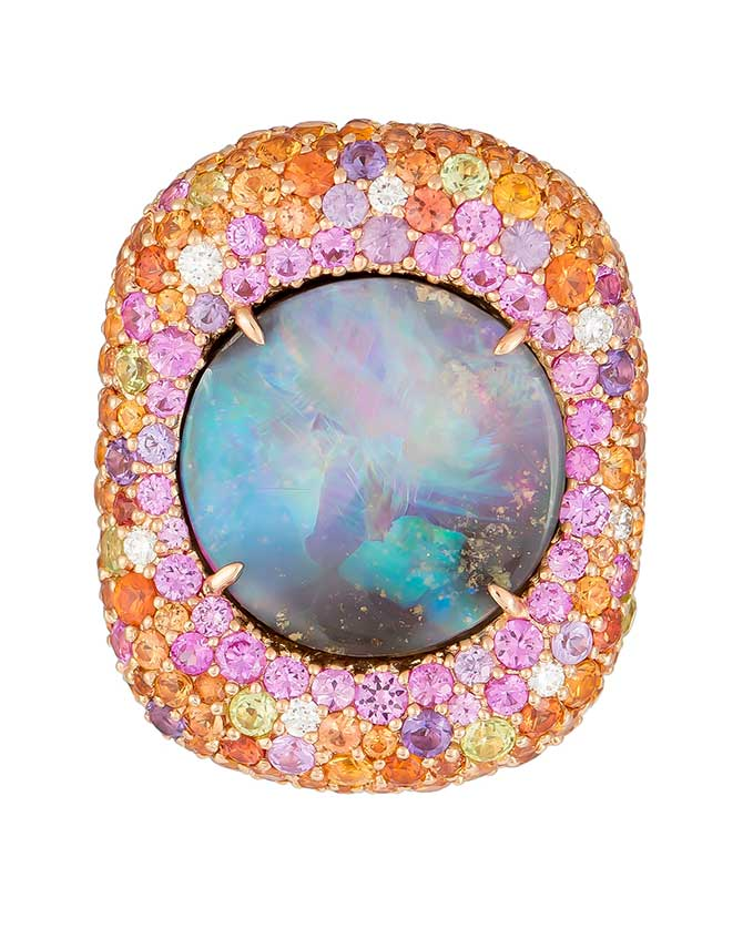 Margot McKinney opal ring with gemstone halo