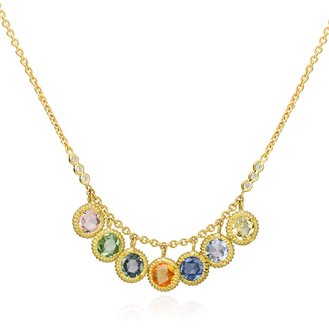 Lauren K Carly rainbow sapphire necklace