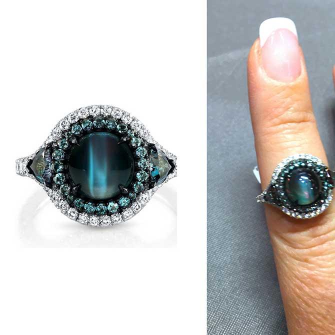 Omi Prive cats eye alexandrite ring