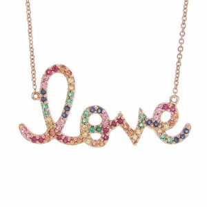 Sydney Evan rainbow love pendant