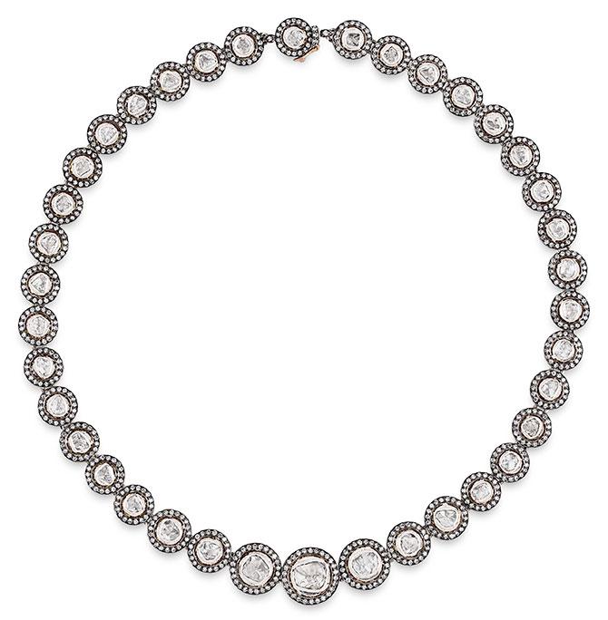 Sanjay indorussian diamond halo necklace
