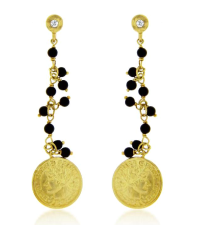 Meira T Coin and Bead earrings