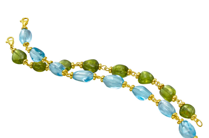 The Mazza Company topaz and peridot gold bracelets