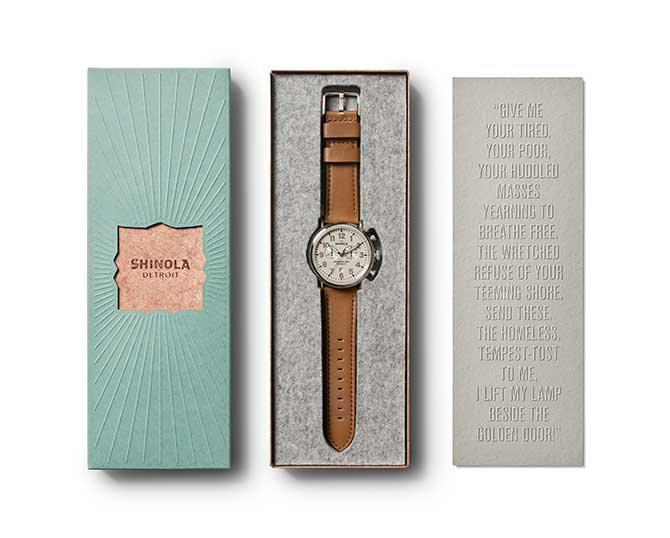 Shinola Statue of Liberty watch packaging
