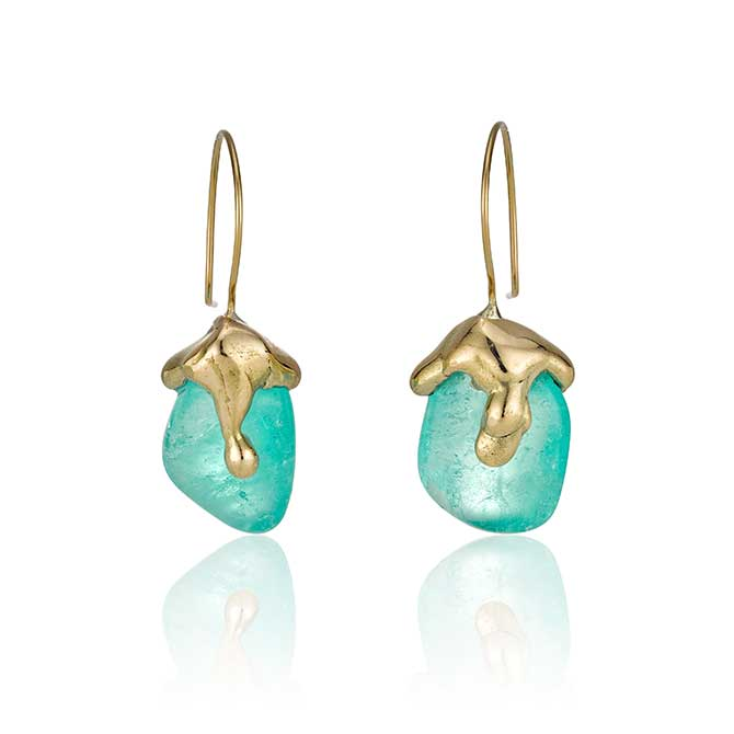 The Rock Hound Muzo emerald earrings