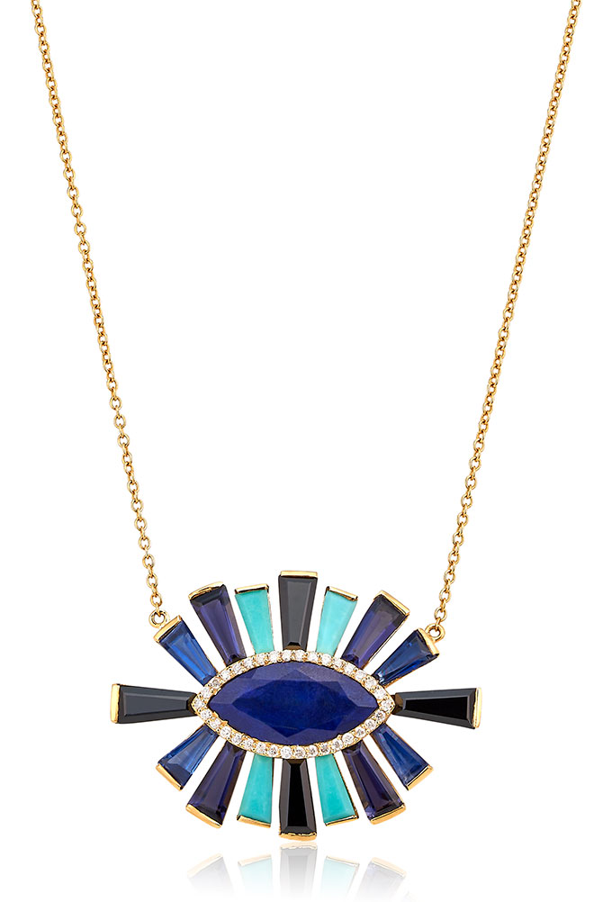 Theresa Kaz kyanite lapis diamond necklace